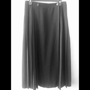 Escada 80's Vintage Pleated Wool A-Line Skirt